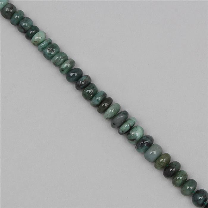 95cts Emerald Graduated Plain Rondelles Approx 5x2 to 8x4mm, 19cm Strand.