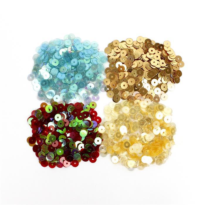 Shimmer: 5mm Sequins in Yellow Gold, Lustered Pearl, Iridescent Red & Light Blue