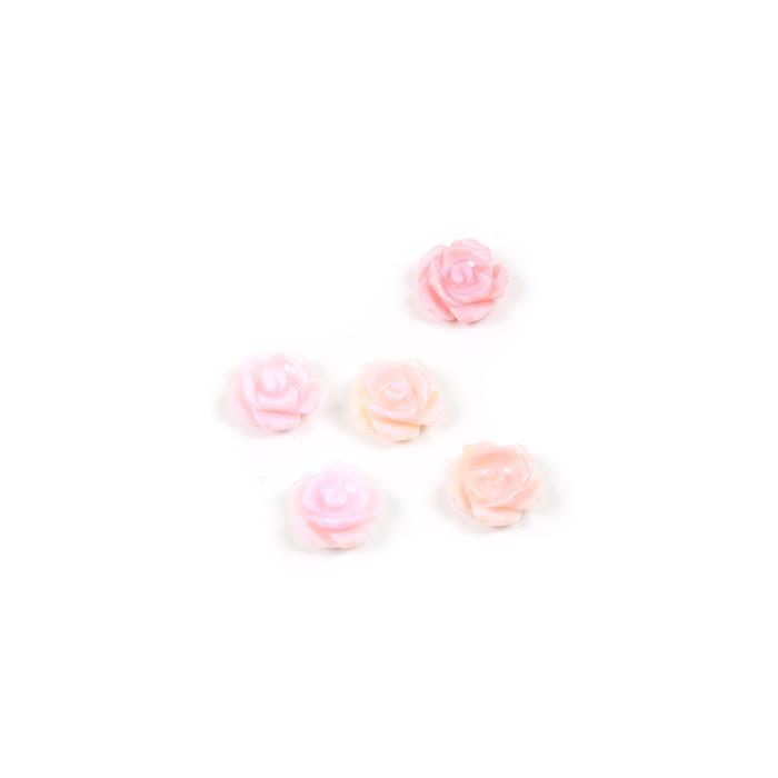 Pink Shell Carved Rose Flower Approx 12mm 5pcs/pack