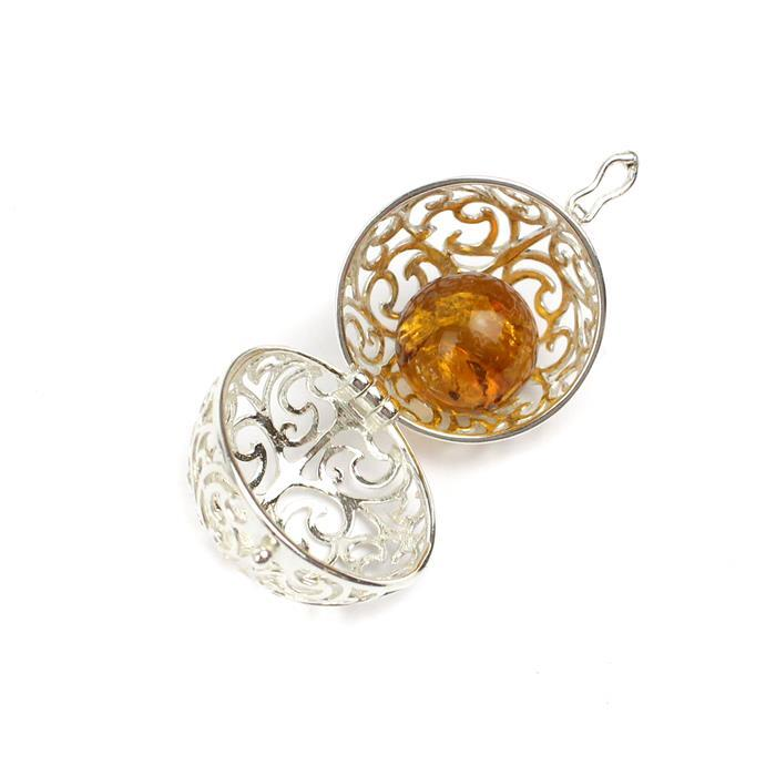 Baltic Cognac Amber Ball (12mm) with Sterling Silver Filigree Locket (22mm)