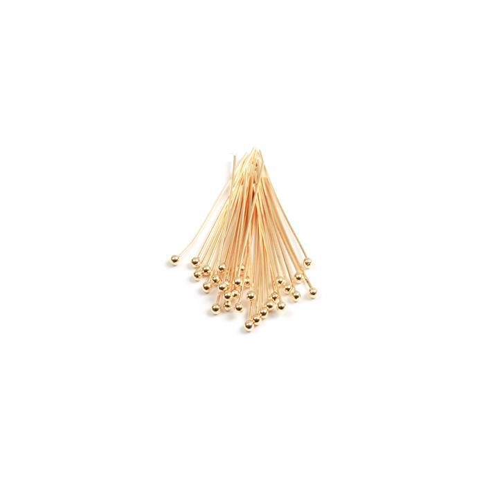 Gold Plated 925 Sterling Silver Ball Head Pins - 50mm 22 Gauge/0.64mm (30pcs)