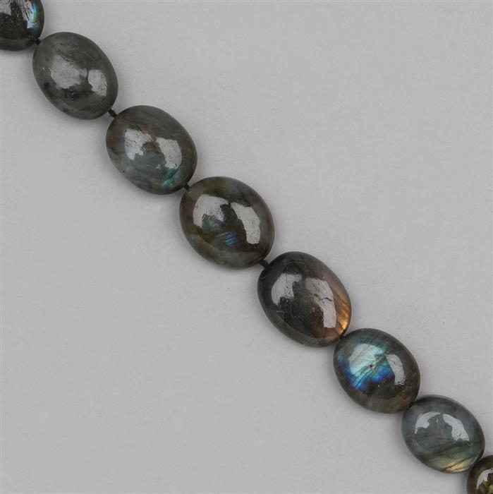 175cts Labradorite Graduated Plain Ovals Approx 10x7 to 20x10mm, 28cm Strand.