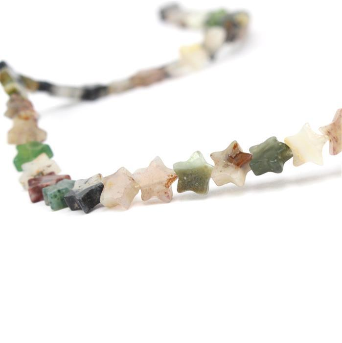 35cts Moss Agate Stars Approx 6mm, 38cm strand
