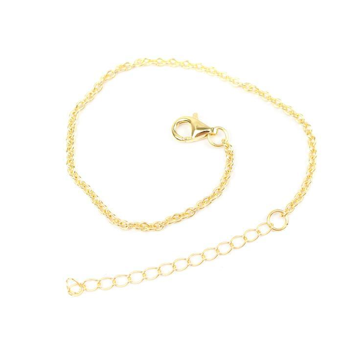 Gold Plated 925 Sterling Silver Round Cable Chain Bracelet Approx 7