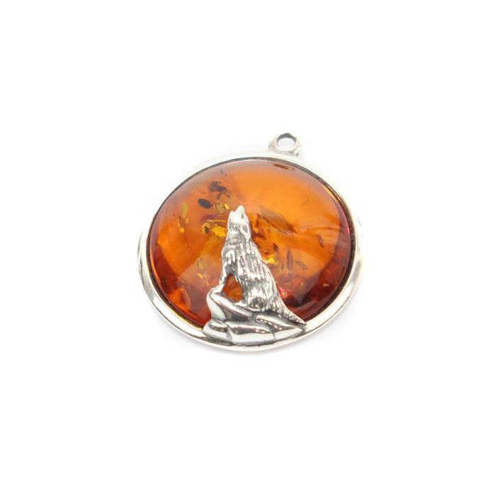 Baltic Cognac Amber Wolf Pendant Sterling Silver Approx 22mm