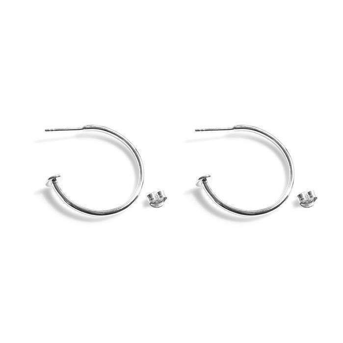 925 Sterling Silver Hoop Earrings With Stud End Approx 25mm
