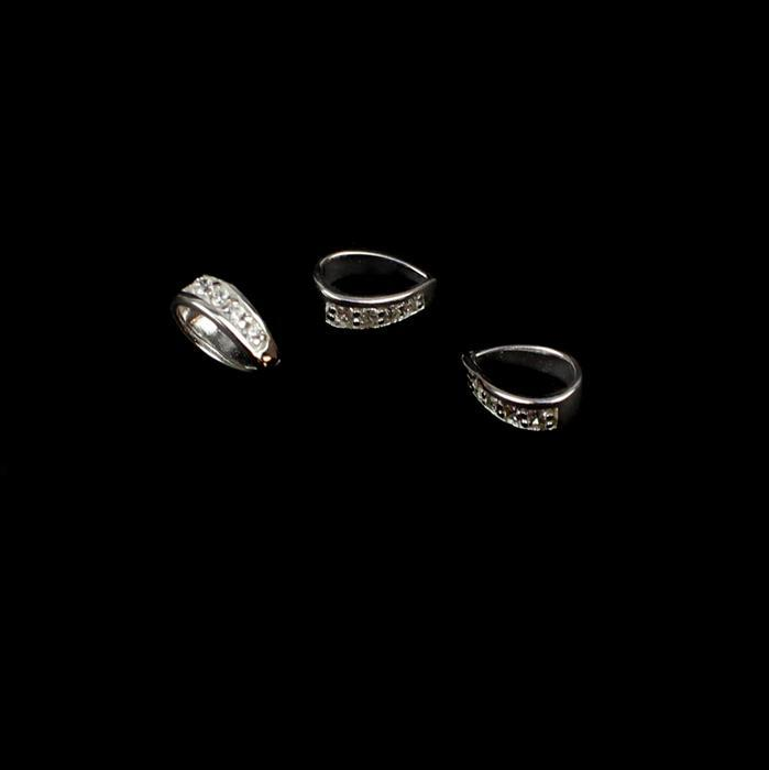 925 Sterling Silver Cubic Zirconia Bail Approx 9mm, 3pcs