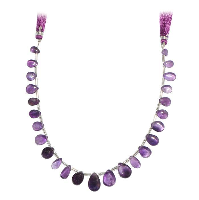 80cts Amethyst Graduated Plain Pear Approx From 8x6 to 15x10mm, 22cm Strand.
