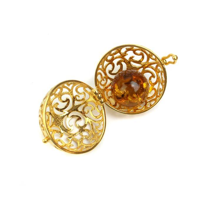 Baltic Cognac Amber Ball (12mm) with Gold Plated Sterling Silver Filigree Locket (22mm)