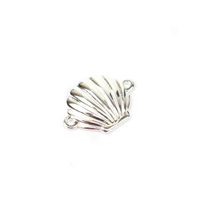 925 Sterling Silver Scalloped Shell Connector Approx 13x17mm 1pk