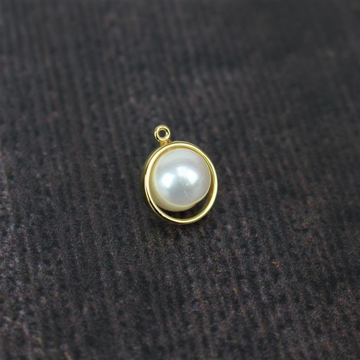 Gold Plated 925 Sterling Silver Freshwater Cultured Pearl Pendant 15x12, Pearl Approx. 10mm