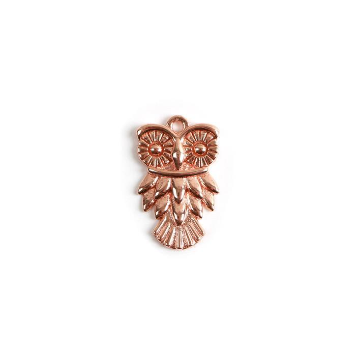 Rose Gold Plated 925 Sterling Silver Owl Pendant Approx 13x21mm 1pc