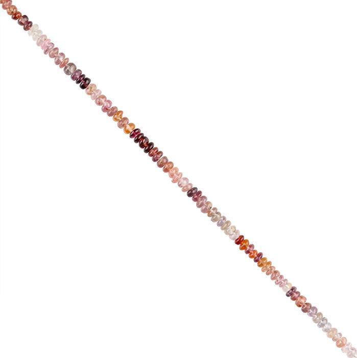 30cts Multi Colour Spinel Graduated Plain Rondelles Approx 2x1 to 3x2mm, 18cm Strand.