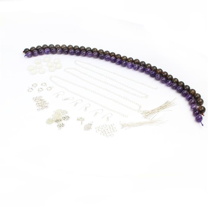 Round the Roses INC Dog Tooth Amethyst & Bronzite 12mm rds,bead caps,charms, findings x150