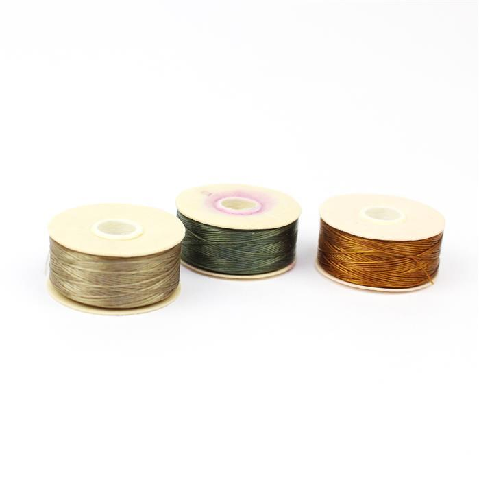 Nymo Thread Bundle INC Olive Size D, Sand Size O & Golden Size D