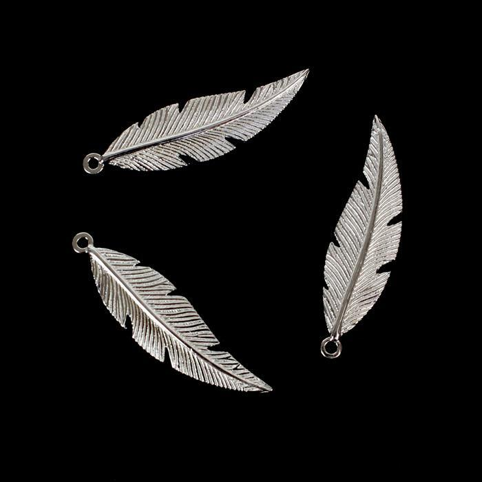 925 Sterling Silver Fine Detail Feather Pendants, Approx 26x7mm, 3pcs