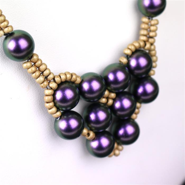 Plum Swirl inc Swarovski Iridescent Purple Pearls, Gold Colour wires & gold seed beads