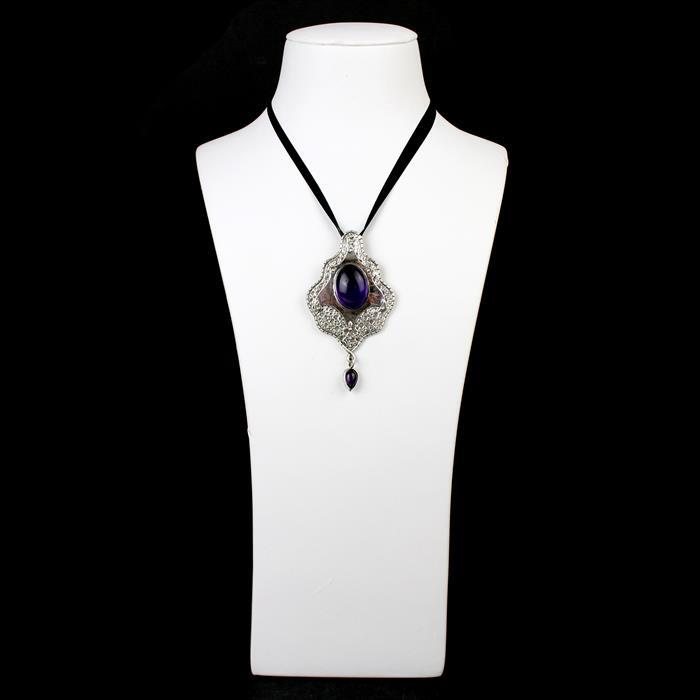 Amethyst Selection; 98cts Amethyst Cabs & Rondelles, Black Rhodium Plated 925 SS Flat Wire