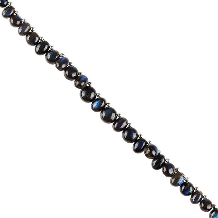 40cts Blue Sheen Labradorite Graduated Plain Ovals Approx (5x3 to 7x5mm) & Plain Rounds Approx (4 to 8mm) 18cm Strand.