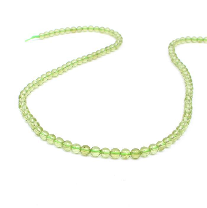 30cts Peridot Plain Rounds Approx 4mm , 38 strand