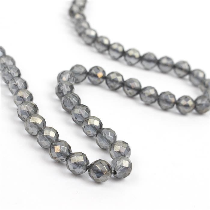 80cts Grey Coated Clear Quartz Faceted Rounds Approx 6mm, 38cm
