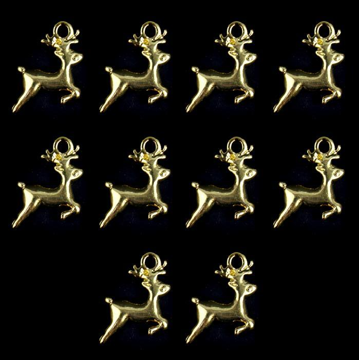 Gold Colour Base Metal Reindeer Charms Approx 12x12mm (10pcs)