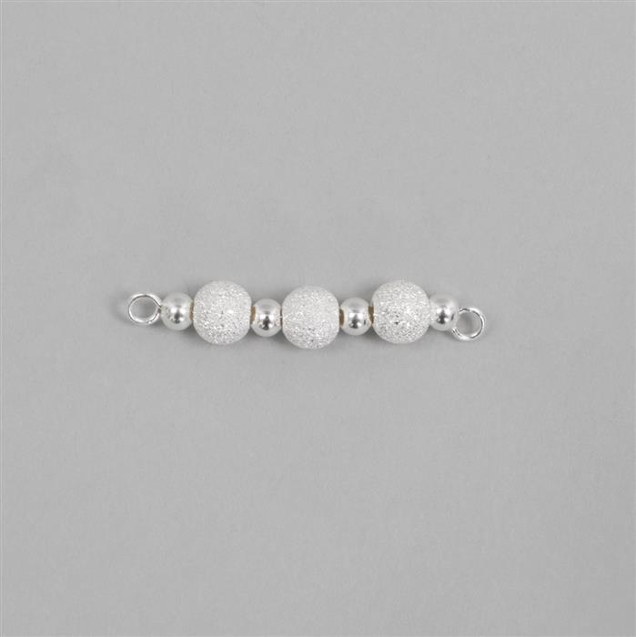 925 Sterling Silver Stardust Bead Connector Approx 28mm Length, 1pc