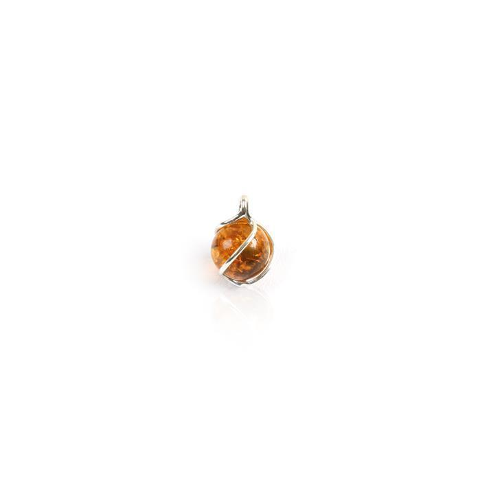 Baltic Cognac Amber Swirl Round Bead Charm Approx 7mm Sterling Silver