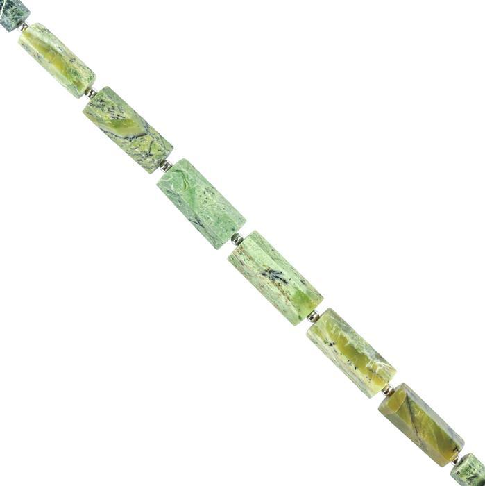 60cts Serpentine Opal Graduated Faceted Barrels Approx 9x5 to 16x8mm, 16cm Strand.