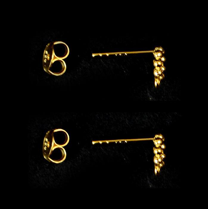 Gold Plated 925 Sterling Silver Bead Detail Earring Post with Butterfly Back Aprrox 6mm, 1 Pair