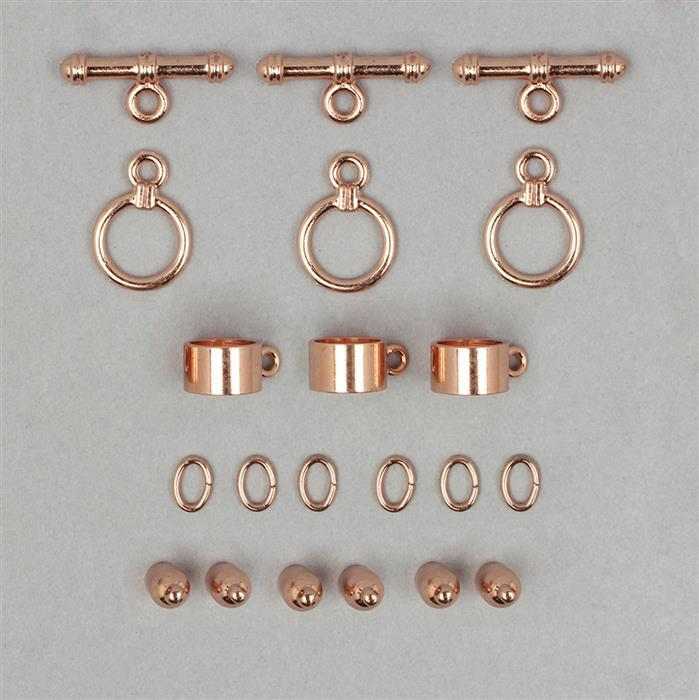 Kumihimo Accessory Pack Rose Gold Coloured 3mm (3pack)