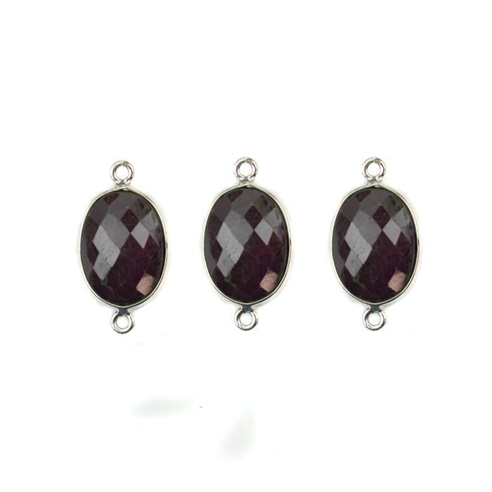 925 Sterling Silver Bezel Connectors Approx 21x11mm Inc. 26.5cts Ruby Faceted Oval Approx 14x10mm (3pcs)