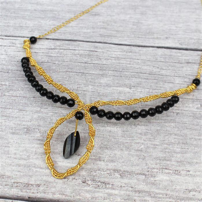 Evening Glamour; Black Spinel Faceted Twisted Marquise, Agate Pumpkin Cut Rounds & Wire