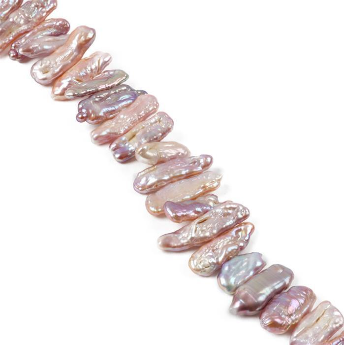 Pink Freshwater Cultured Pearl Center-Drilled Biwa Beads Approx from 10x6mm to 26x8mm