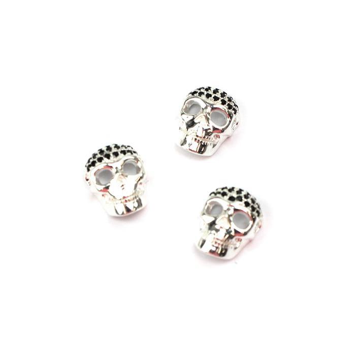 925 Sterling  Silver and Black Cubic Zirconia Skull Spacers Approx 10x7mm, 3pk