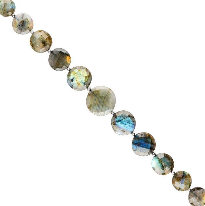 146cts Labradorite Graduated Faceted Coins 12 to 20mm, 20cm Strand.