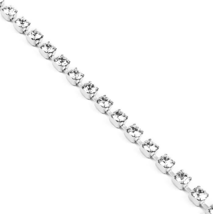 Swarovski Cupchain 27104 PP32 Crystal with Rhodium Casing - Pack of 50cm