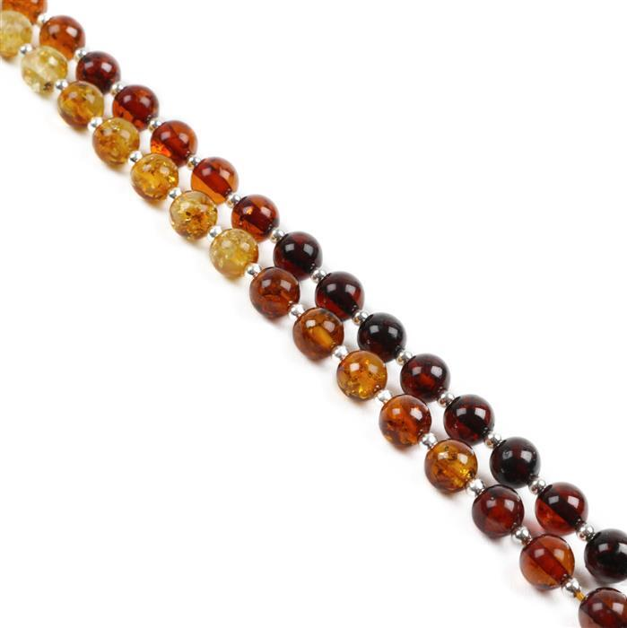 Baltic Multicolour Amber Graduated Colour Rounds Approx. 6mm incl. Sterling Silver Spacers 2.2mm, 38cm