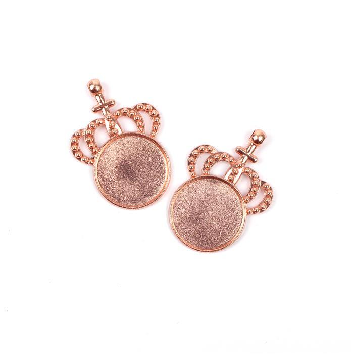 Rose Gold Colour Bezel Pendant in Crown Shape Approx 34x48mm (Set of 2)