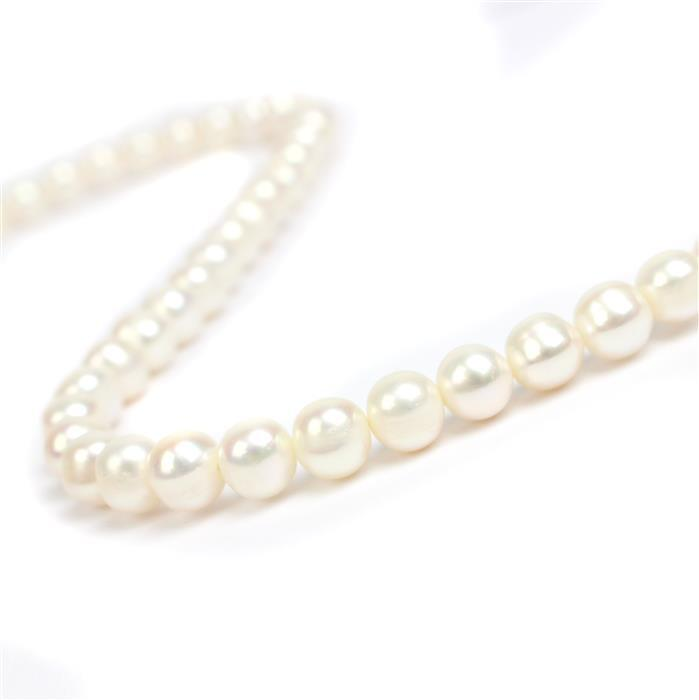 Hand Selected White Freshwater Cultured Potato Pearls Approx 8-9mm, 38cm Strand