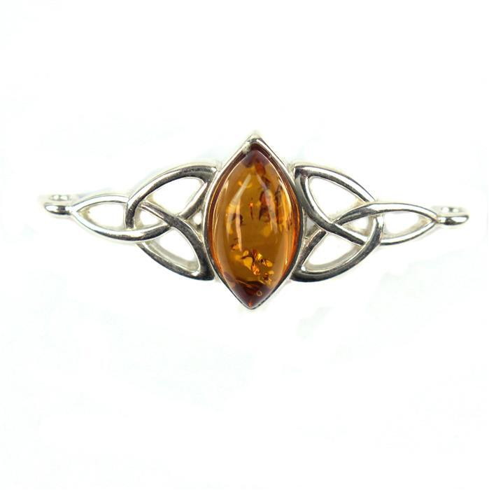 Baltic Cognac Amber Cabochon Marquise Connector with Sterling Silver Element Approx 32x14mm