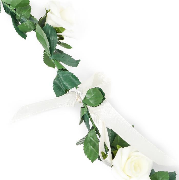 White Paper Rose Garland 120cm
