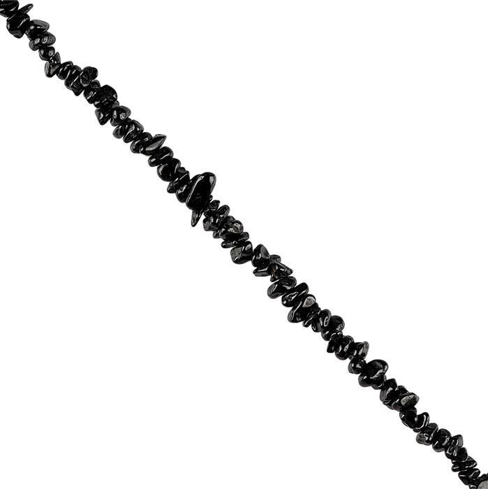 245cts Black Spinel Plain Small Nuggets Approx 3x2 to 8x2mm, 96cm Strand.