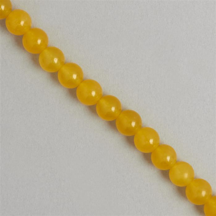 160cts Yellow Colour Dyed Quartz Plain Rounds Approx 8mm, 35cm Strand.