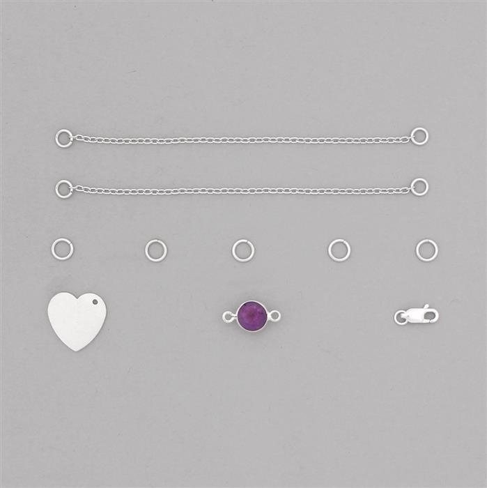 Birthstone Kit: 925 Sterling Silver Bracelet Kit Inc. 1.81cts Amethyst Brilliant Round Approx 8mm (10pcs)