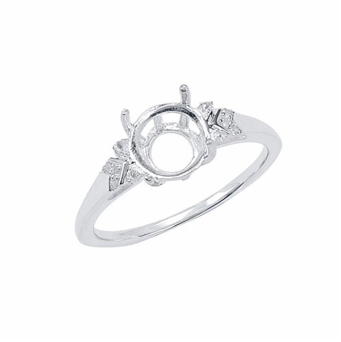 Size 9- 925 Sterling Silver Ring Round Mount Fits 8mm Inc. 0.05cts White Topaz Brilliant Cut Rounds 1mm.