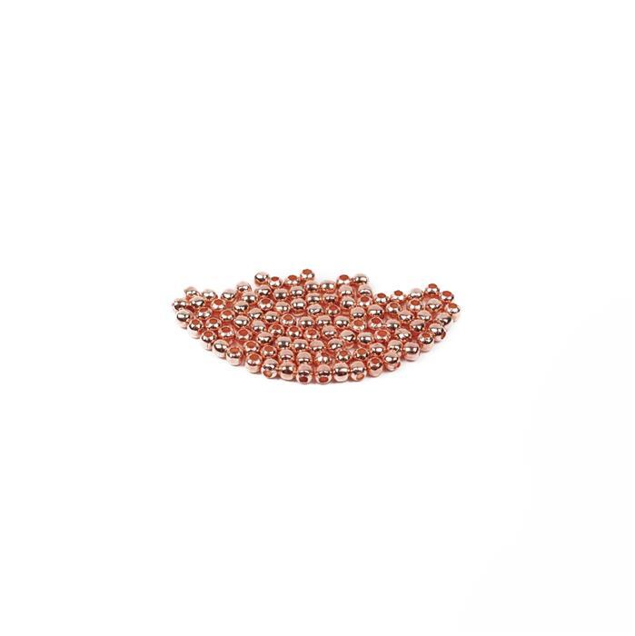 Rose Gold Coloured Brass Round Beads - 3mm (100pcs/pk)