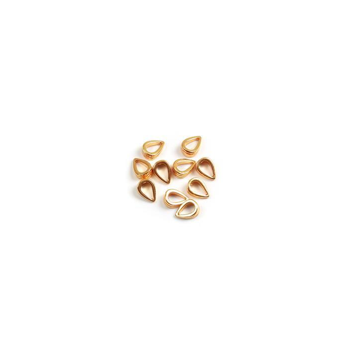 Gold Plated 925 Sterling Silver Fluted Bails Approx 7mm (10pc)