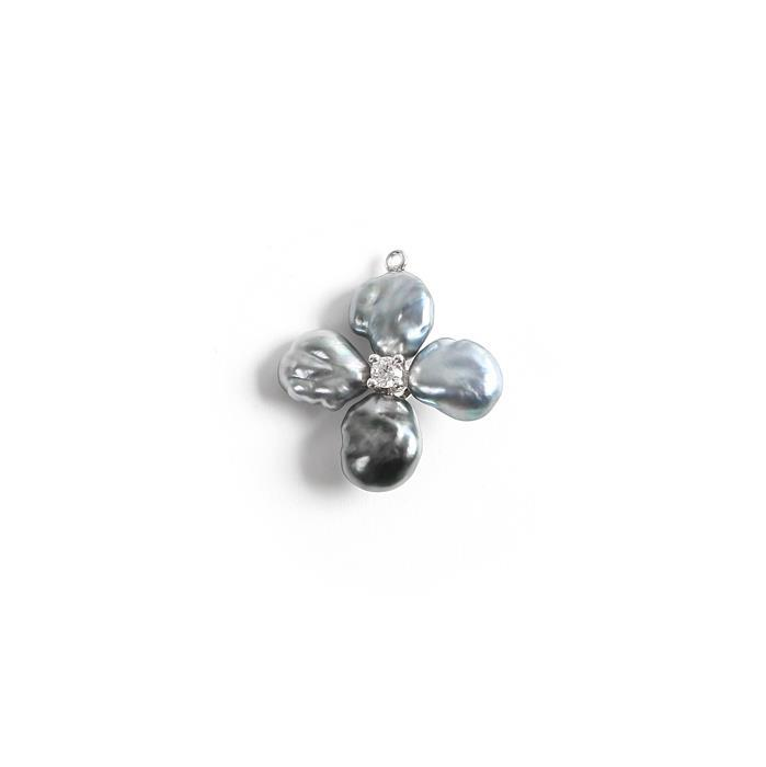 925 Sterling Silver Pendant With Tahitian Keshi Pearl and Cubic Zirconia Approx 15mm