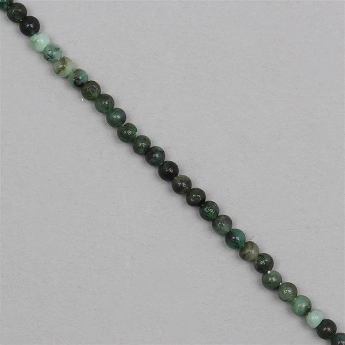 40cts Shaded Emerald Plain Rounds Approx 4mm, 31cm Strand.